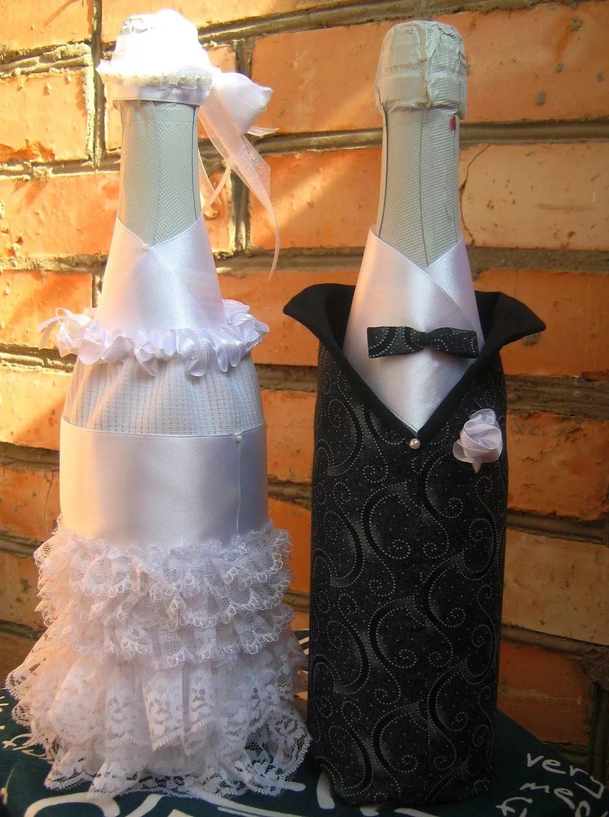Бутылка на свадьбу своими руками