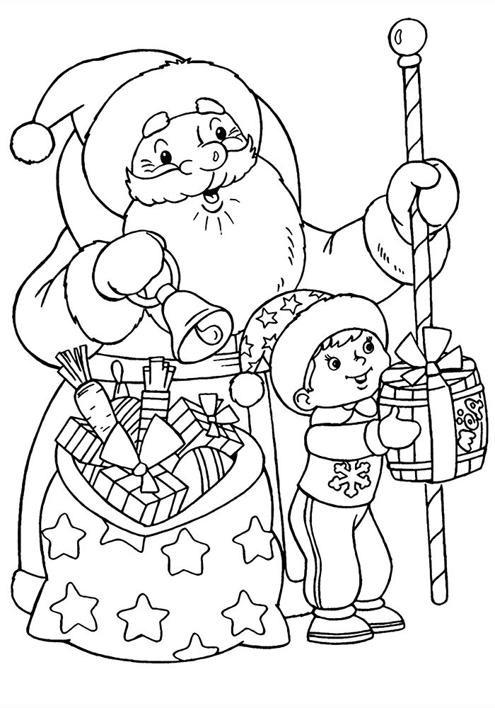 Как нарисовать открытку с дедом морозом 304