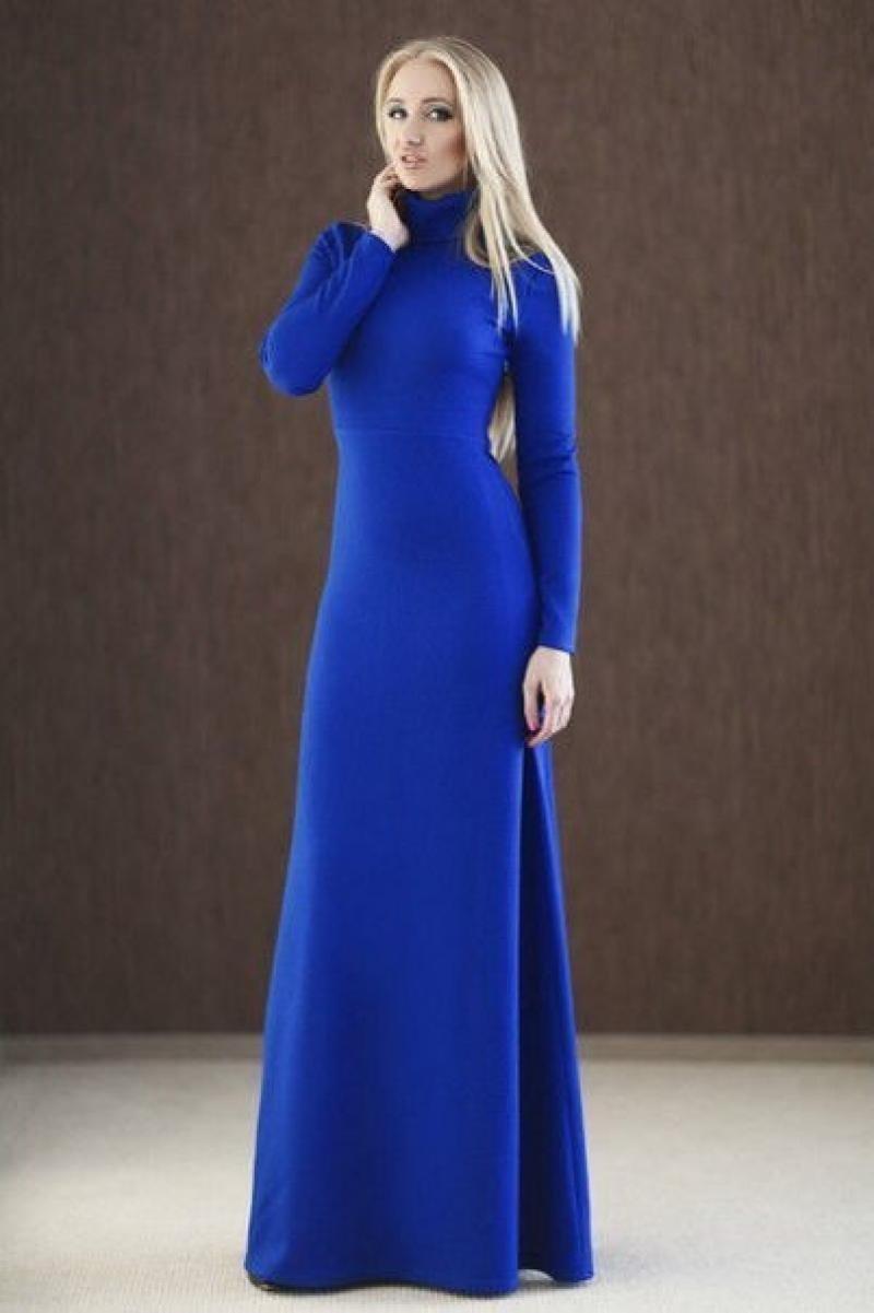 Фото длинное платье под горло с рукавами