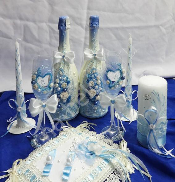 Оформление бутылок и фужеров на свадьбу фото