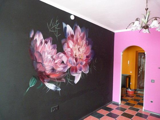 Роспись на стенах в интерьере своими руками 40