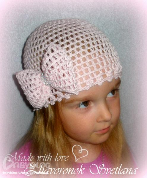 Вязание крючком шапки детям для лета