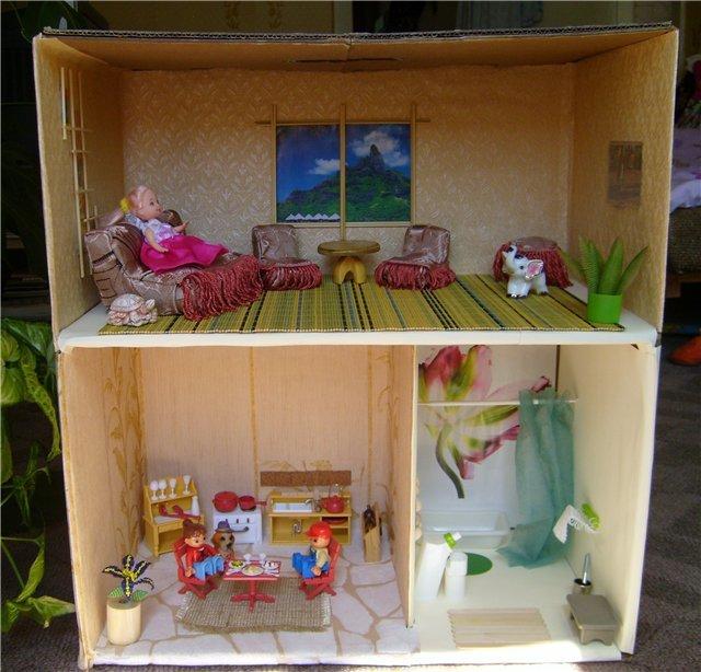 Домики для кукол из каробок своими руками 5