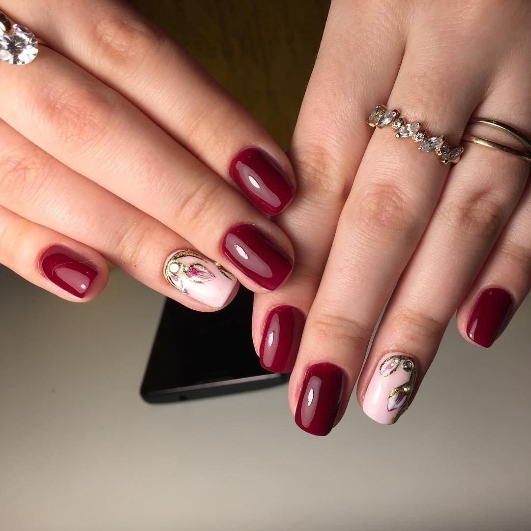 Гель лак цвет бордо фото дизайны ногтей