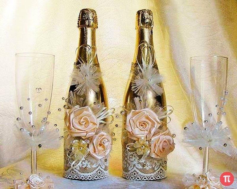 Как красиво украсить бутылку на свадьбу своими руками 42