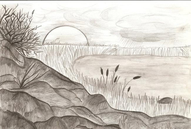 Пейзажи карандашом рисовать