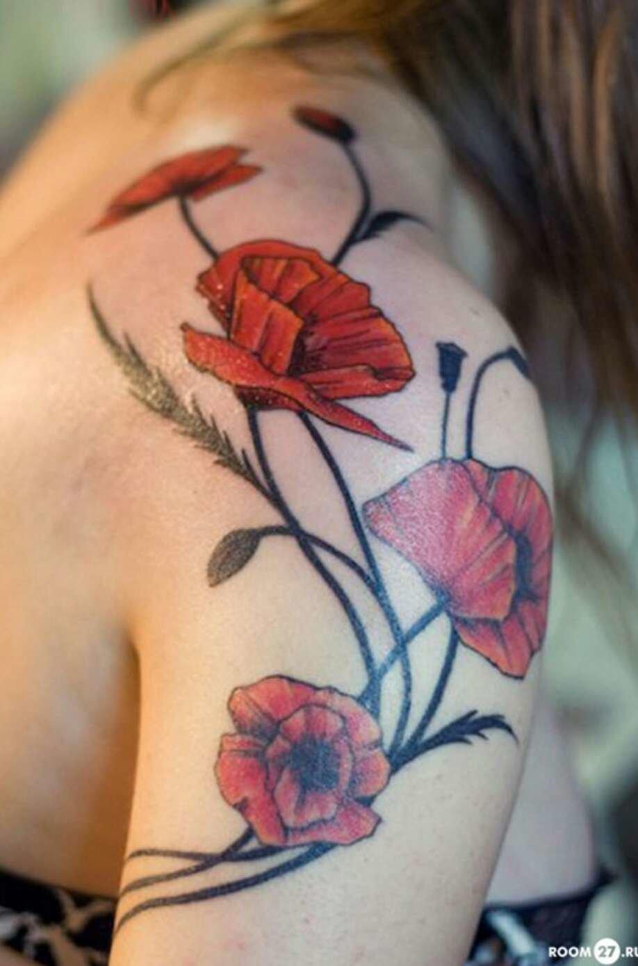 Цветы на плече фото