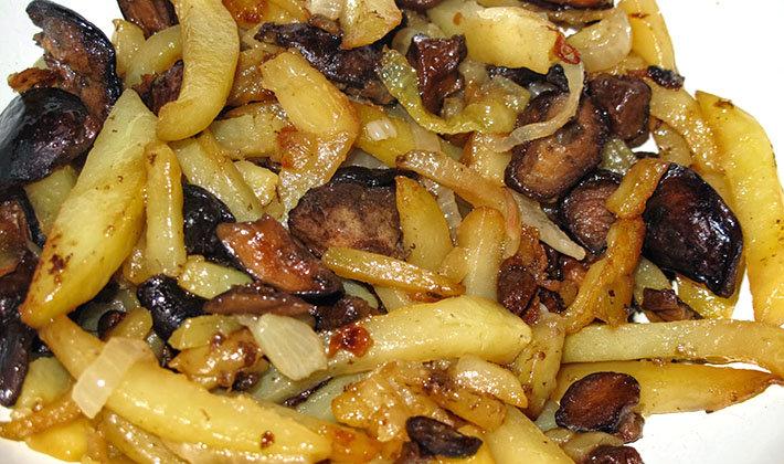 Картошка с грибами жареная пошаговый рецепт с фото