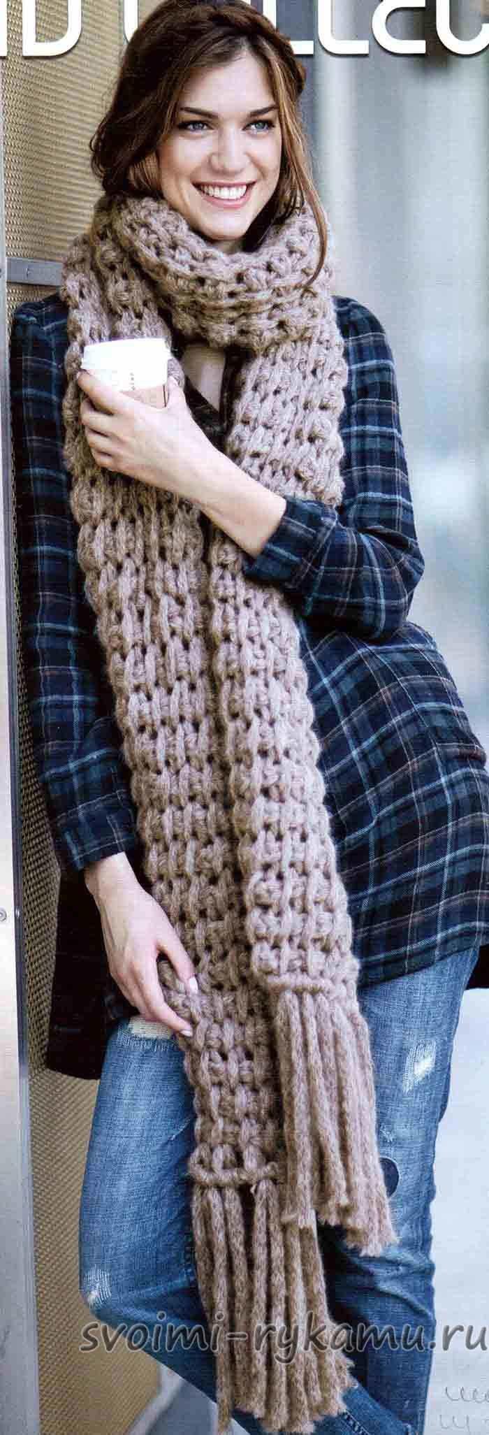 Вязание крючком шарф из толстой пряжи 77