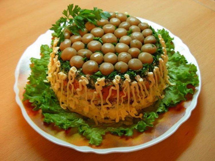 Салат грибная поляна пошаговый рецепт с ветчиной и сыром