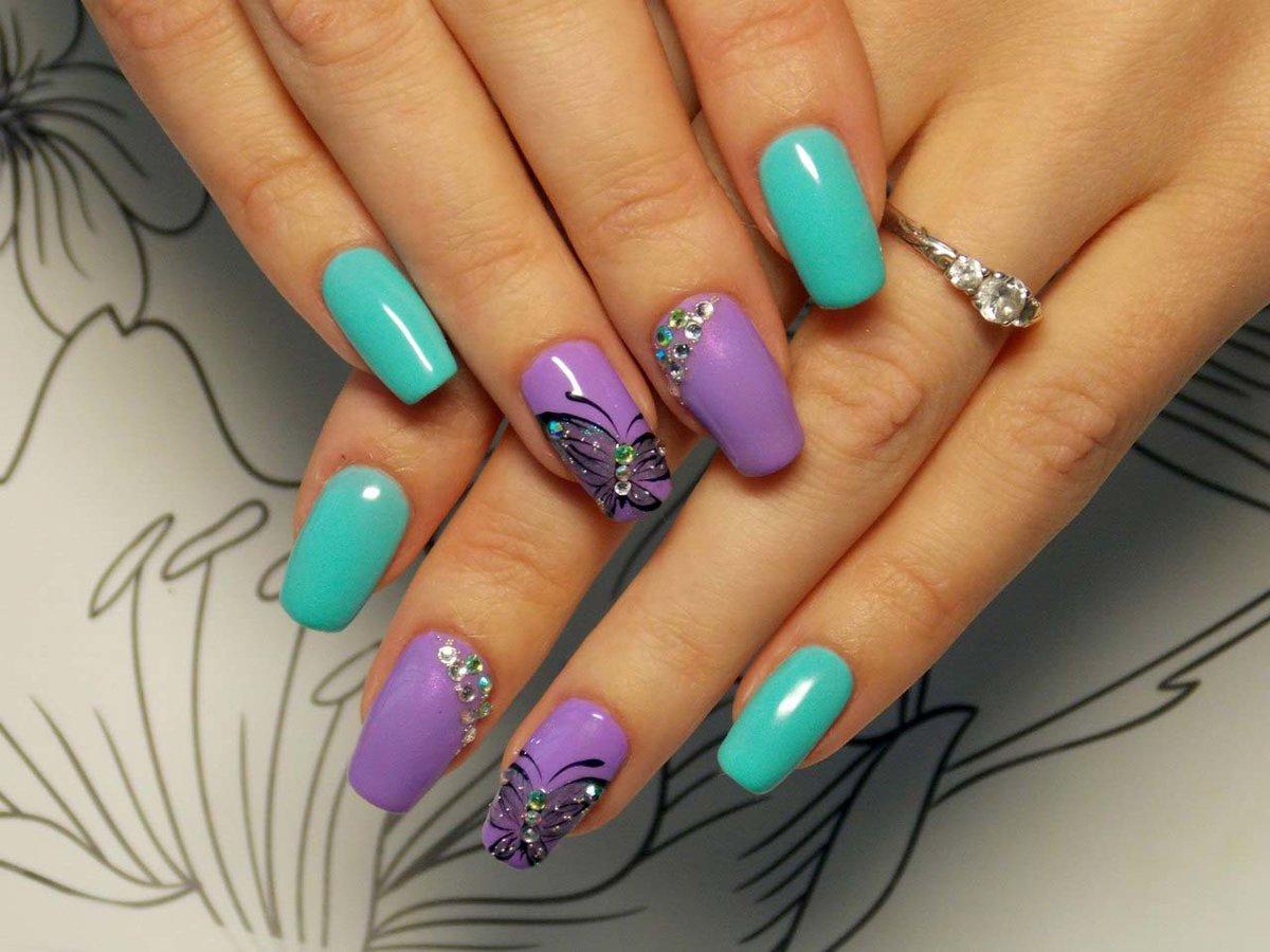 2 цвета на ногтях фото