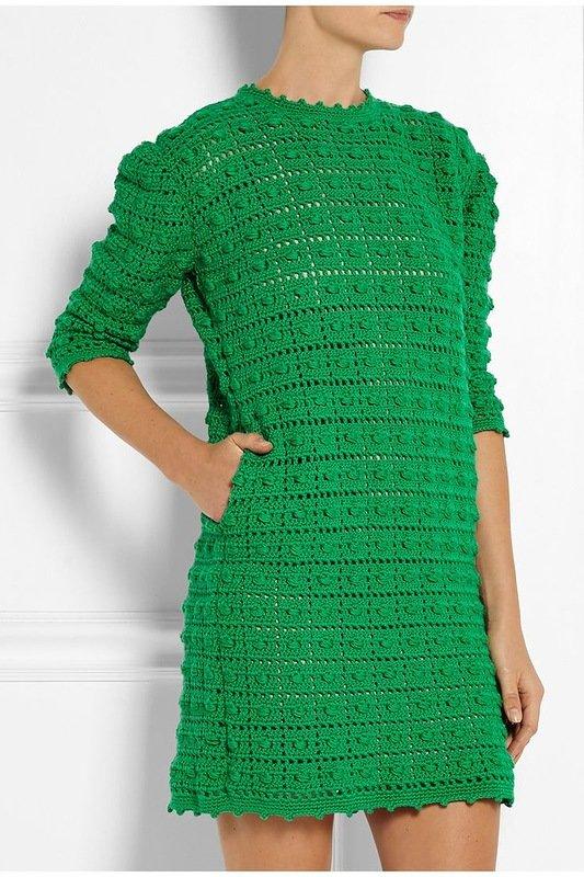 Вязание крючком зелёное платье 701