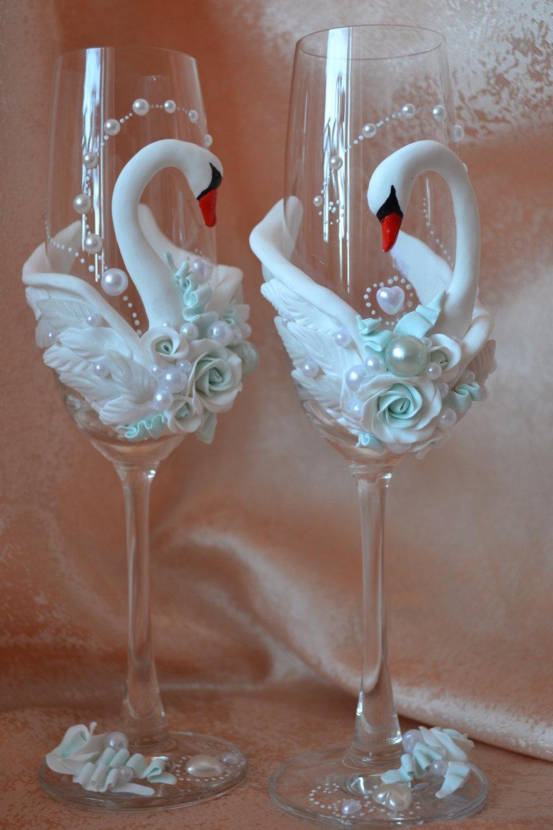Лебеди своими руками стакан