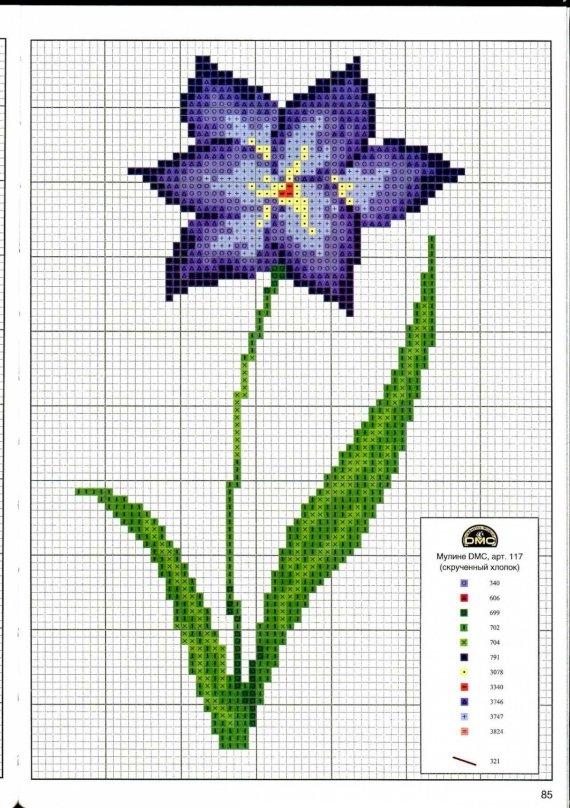 Простые схемы для вышивки крестом цветы 64