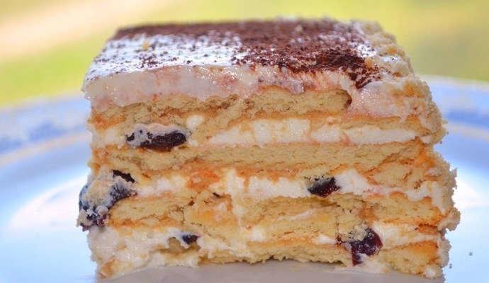 Торт из печенья и творога без выпечки рецепт пошаговый