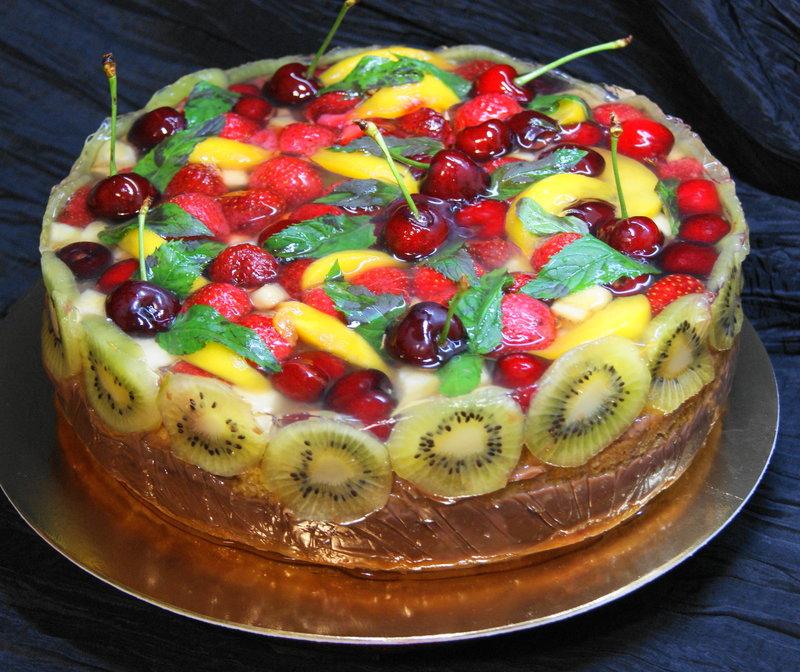 Желирование фруктов для торта