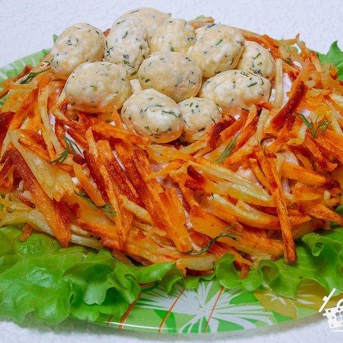 Как приготовить салат гнездо глухаря рецепт с
