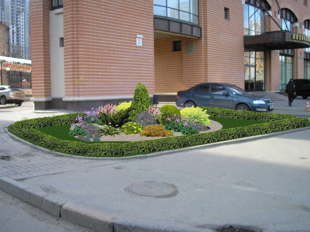 Ландшафтный дизайн возле офиса