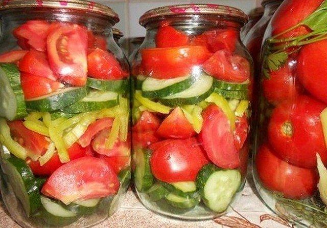 Салат огурцы помидоры перец на зимуы