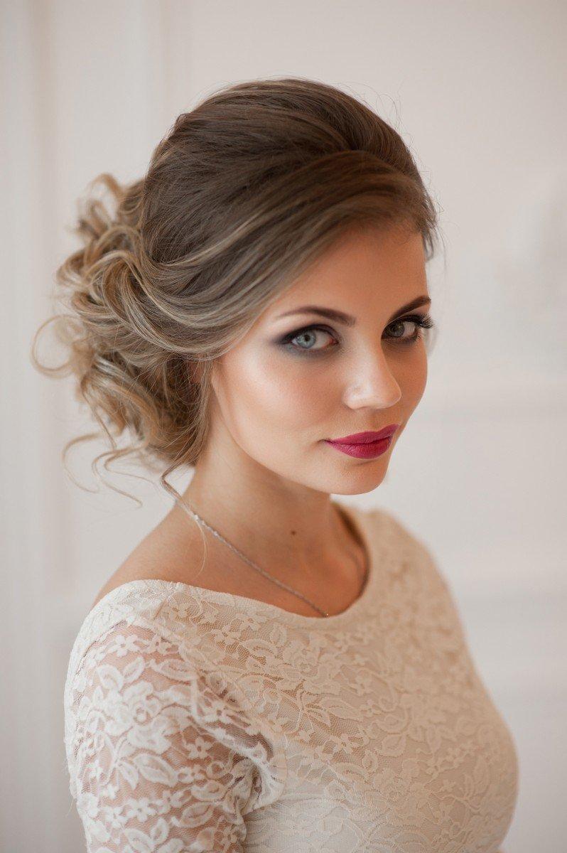 Свадебные прически русые волосы