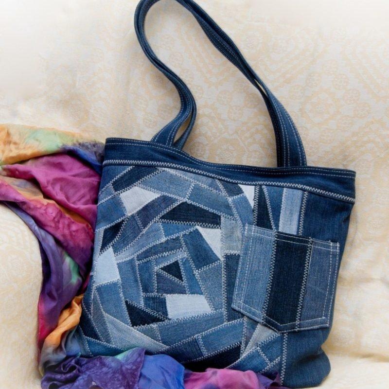 Сшить пляжную сумку в стиле пэчворк 32