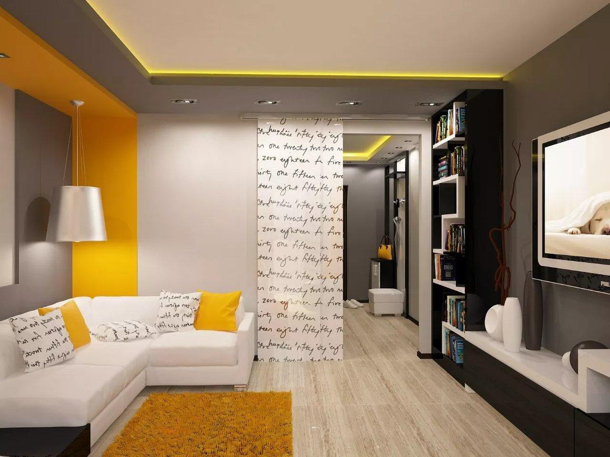 Дизайн квартир зал прямоугольной формы