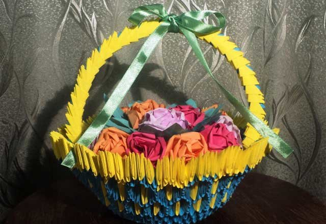 Схема модульного оригами корзинка для цветов