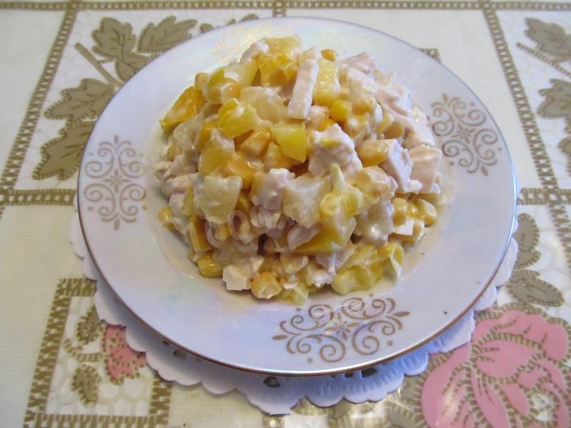 Салат из куриной грудки с ананасами и кукурузой рецепт с