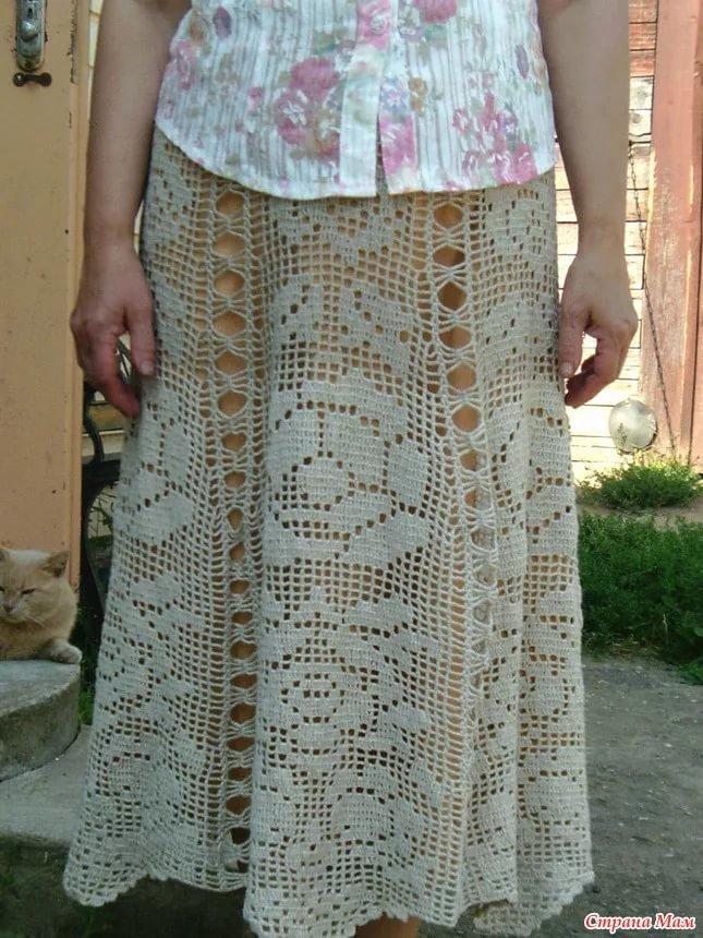 Вязание юбки филейным узором