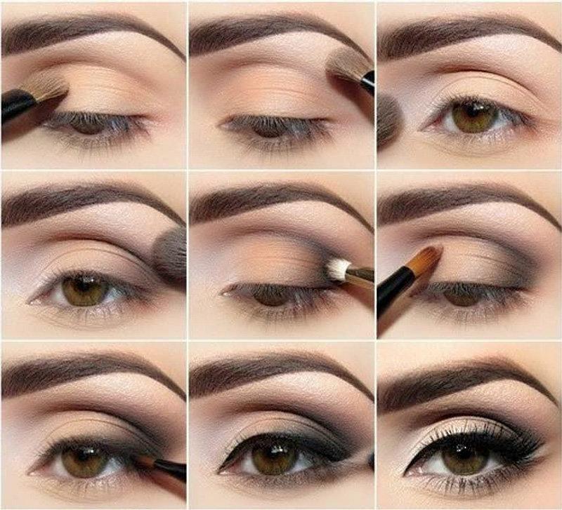 Как правильно красить карие глаза тенями пошагово