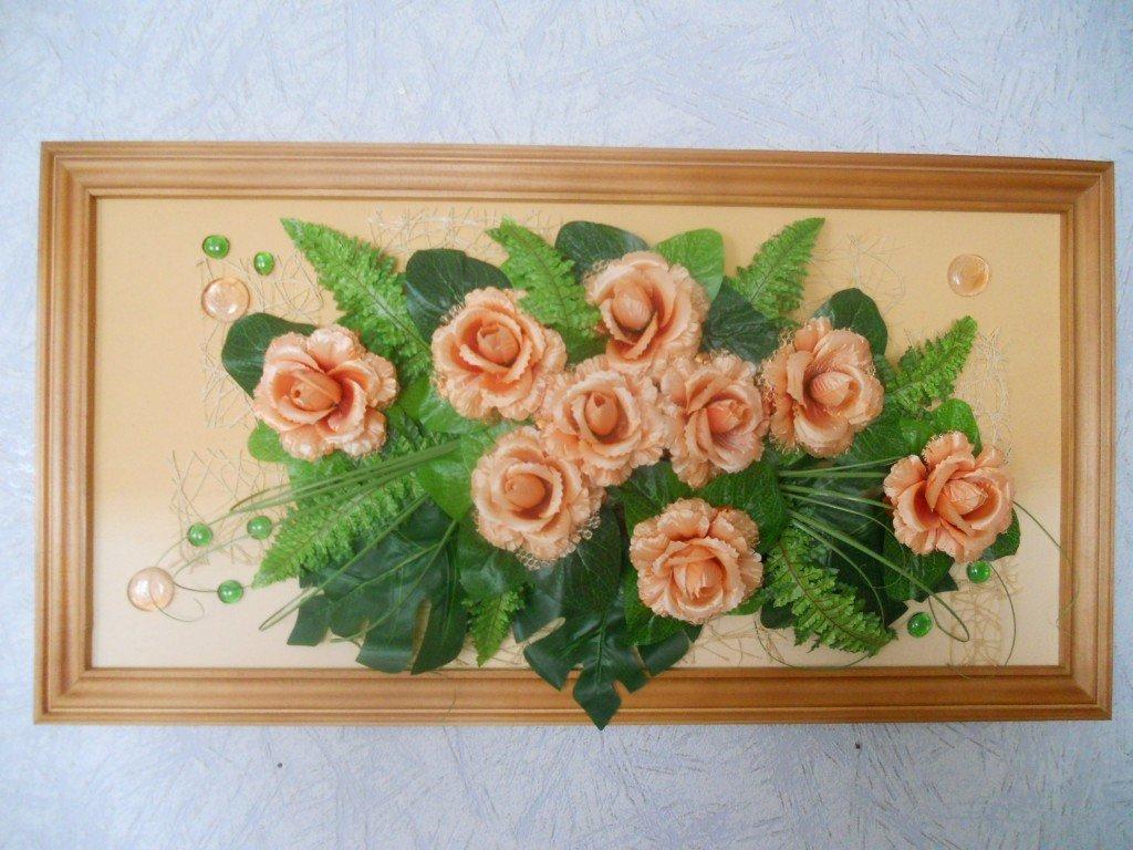 Поделка из цветов в рамке 62