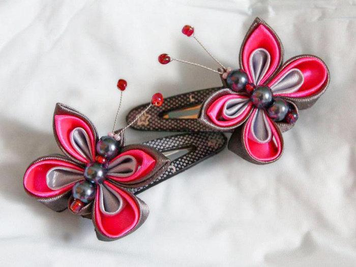 Бабочка из атласной ленты своими руками канзаши 23
