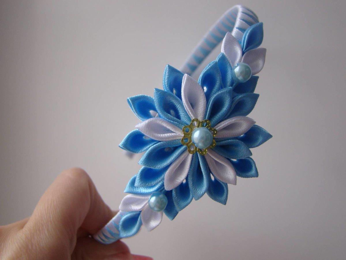 Цветы из лент на ободок своими руками мастер класс канзаши 26