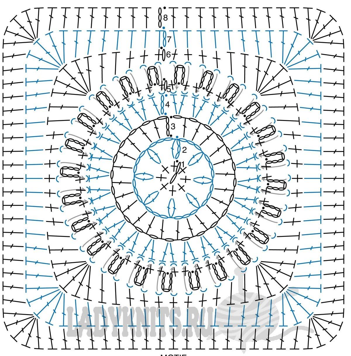 Схемы для вязания крючком квадратные элементы6