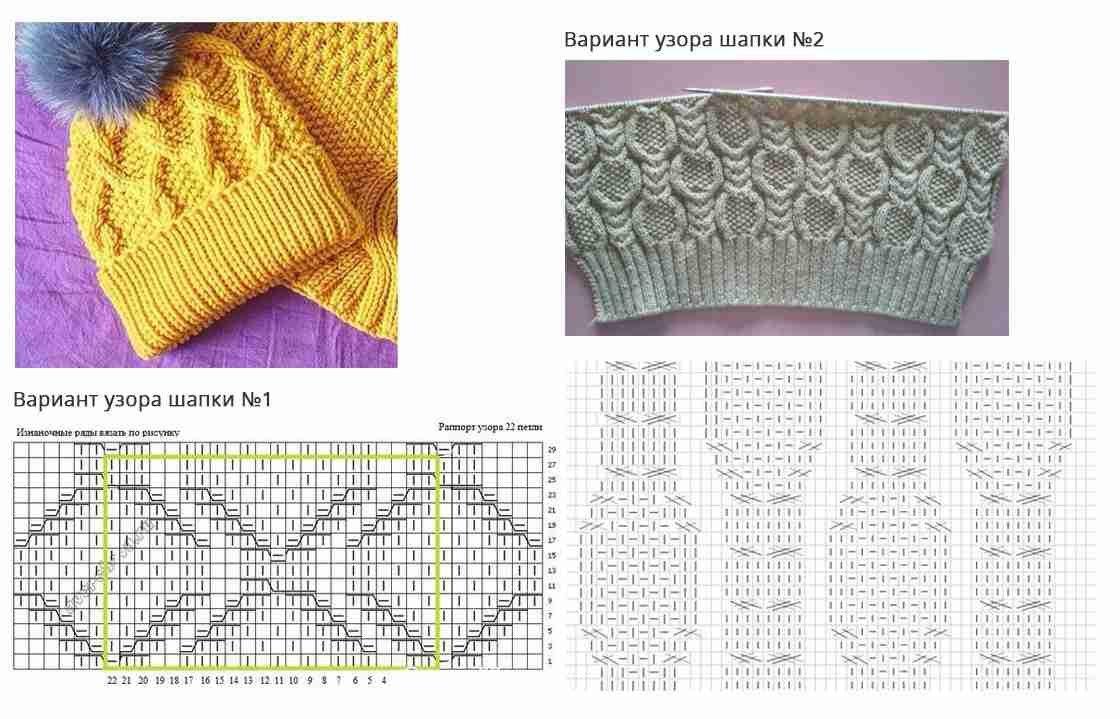 Схема вязания шапки спицами косичка 42