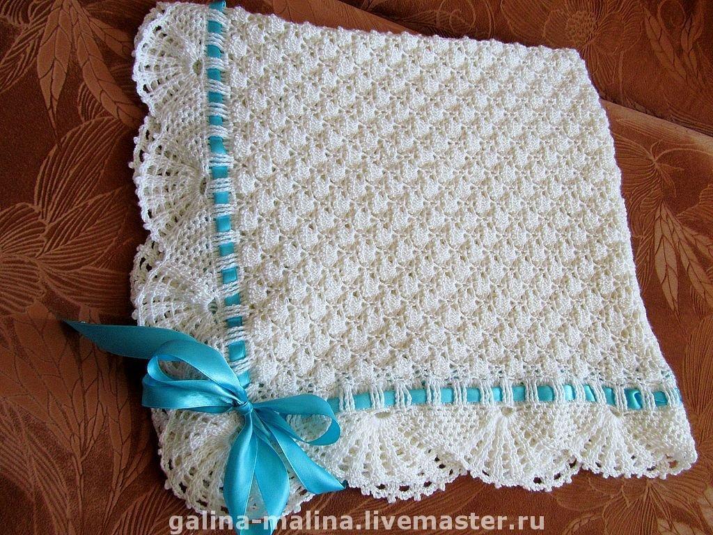 Связать спицами одеяло на выписку своими руками 53