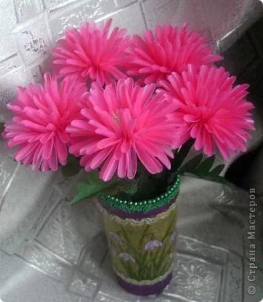 Цветок из трубочек для коктейля своими руками 249