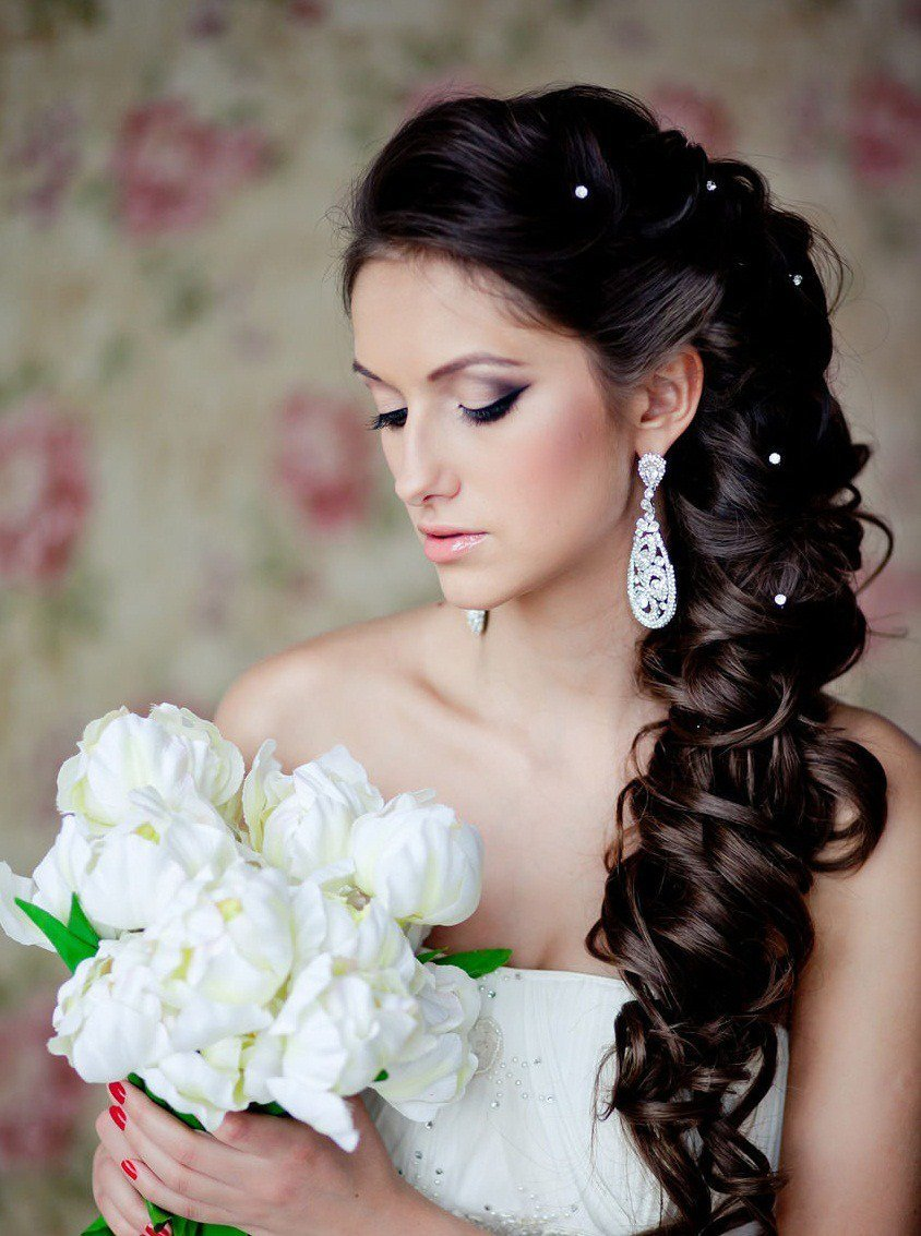 Свадебное прически на длинные темные волосы