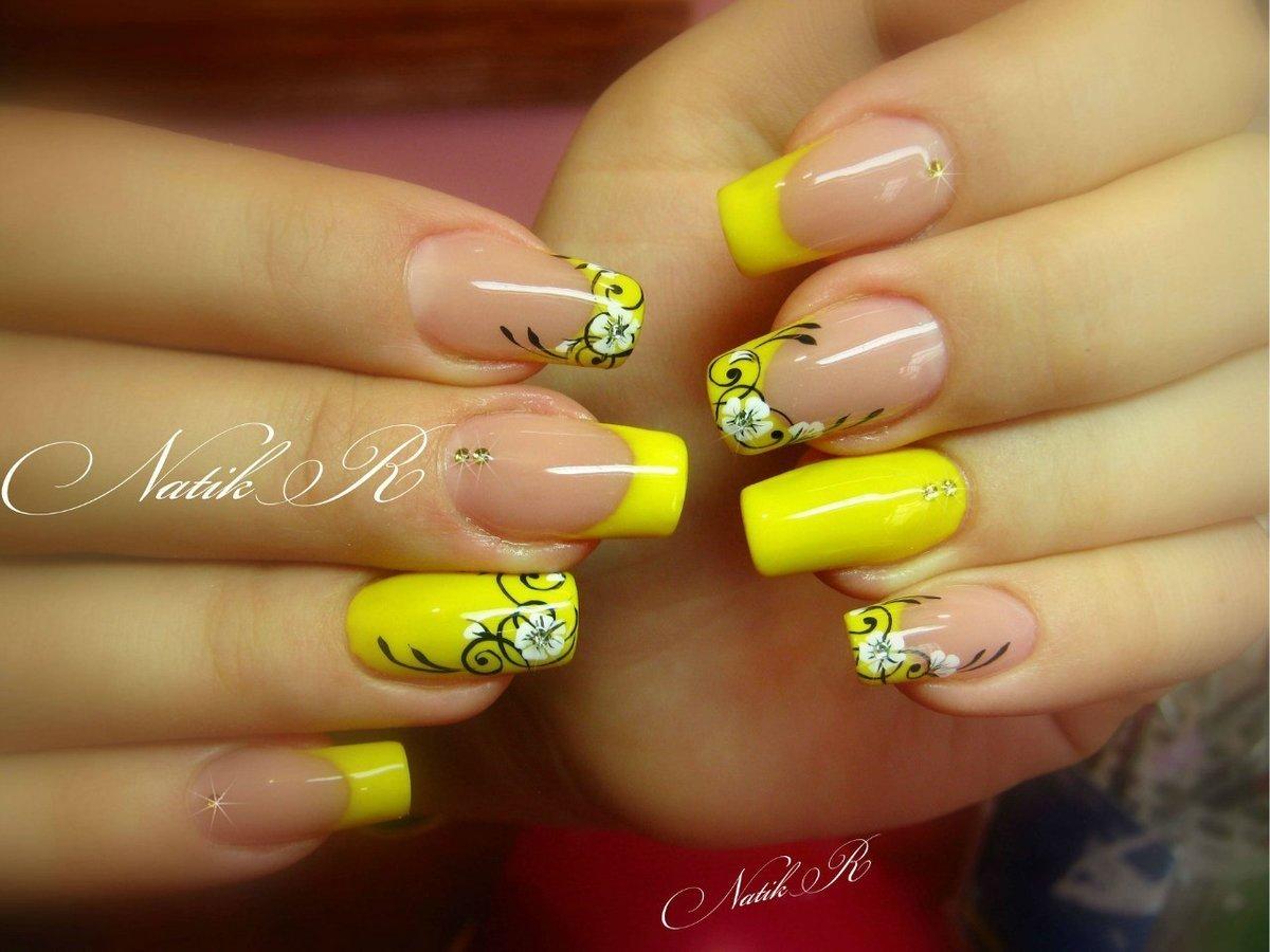 Ногти черно желтый рисунок дизайн 116