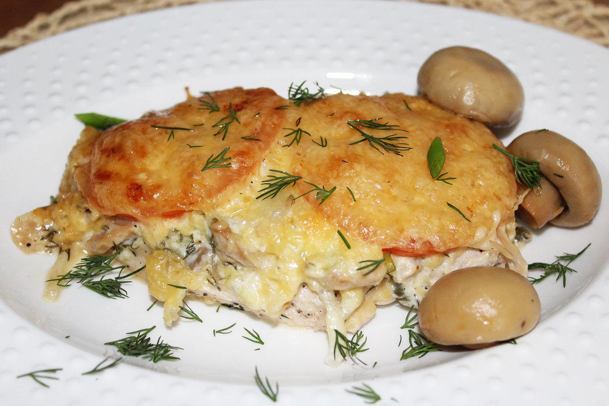 188Куриные отбивные с сыром и шампиньонами в духовке рецепт