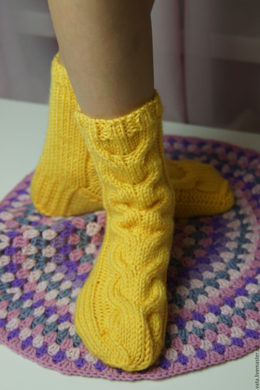 Вязание носок с косами 380