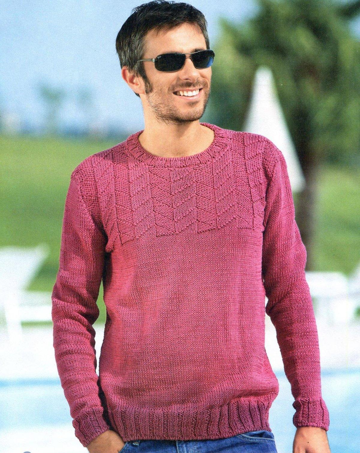 Вязание мужской пуловер спицами