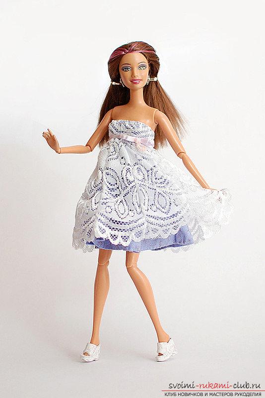 Как сшить короткое платье кукле 124