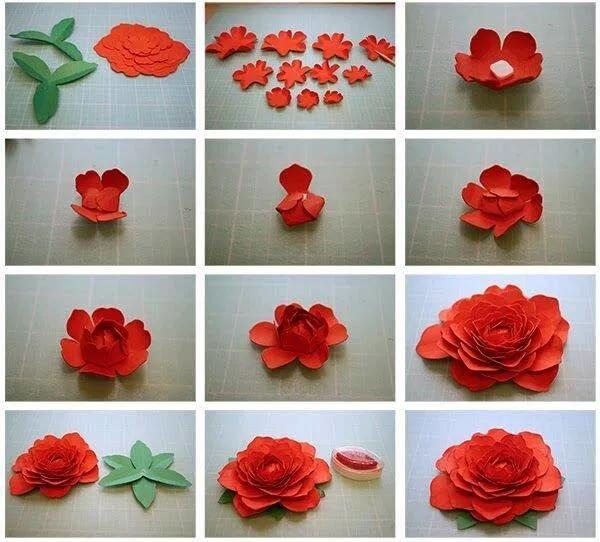 Объемные цветы из бумаги своими руками пошаговое фото