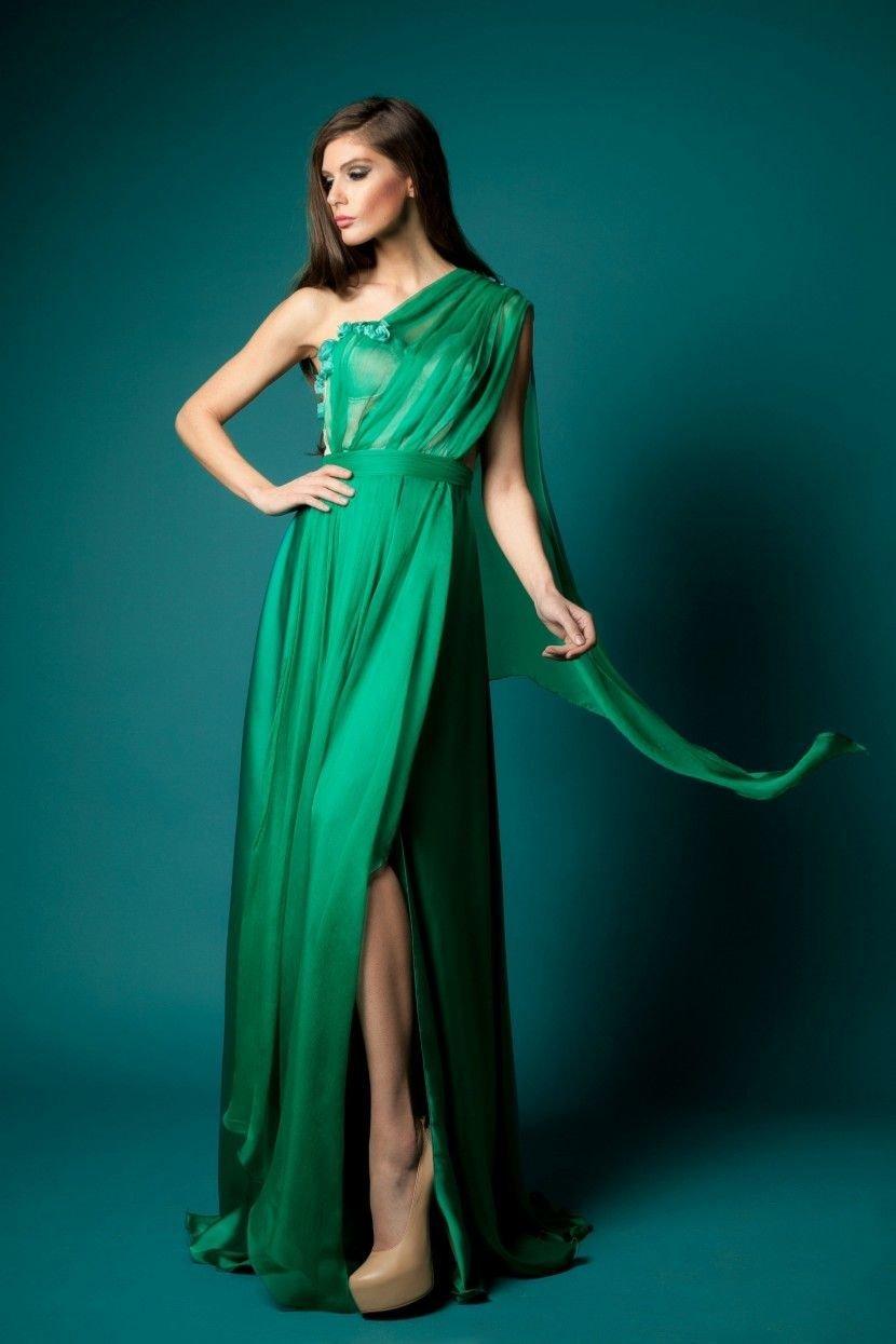 Платья в пол зелёного цвета