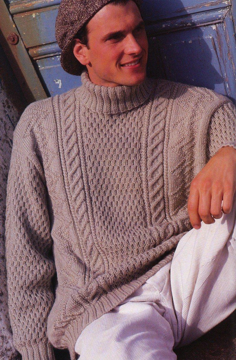 Видео как связать мужской свитер для начинающих