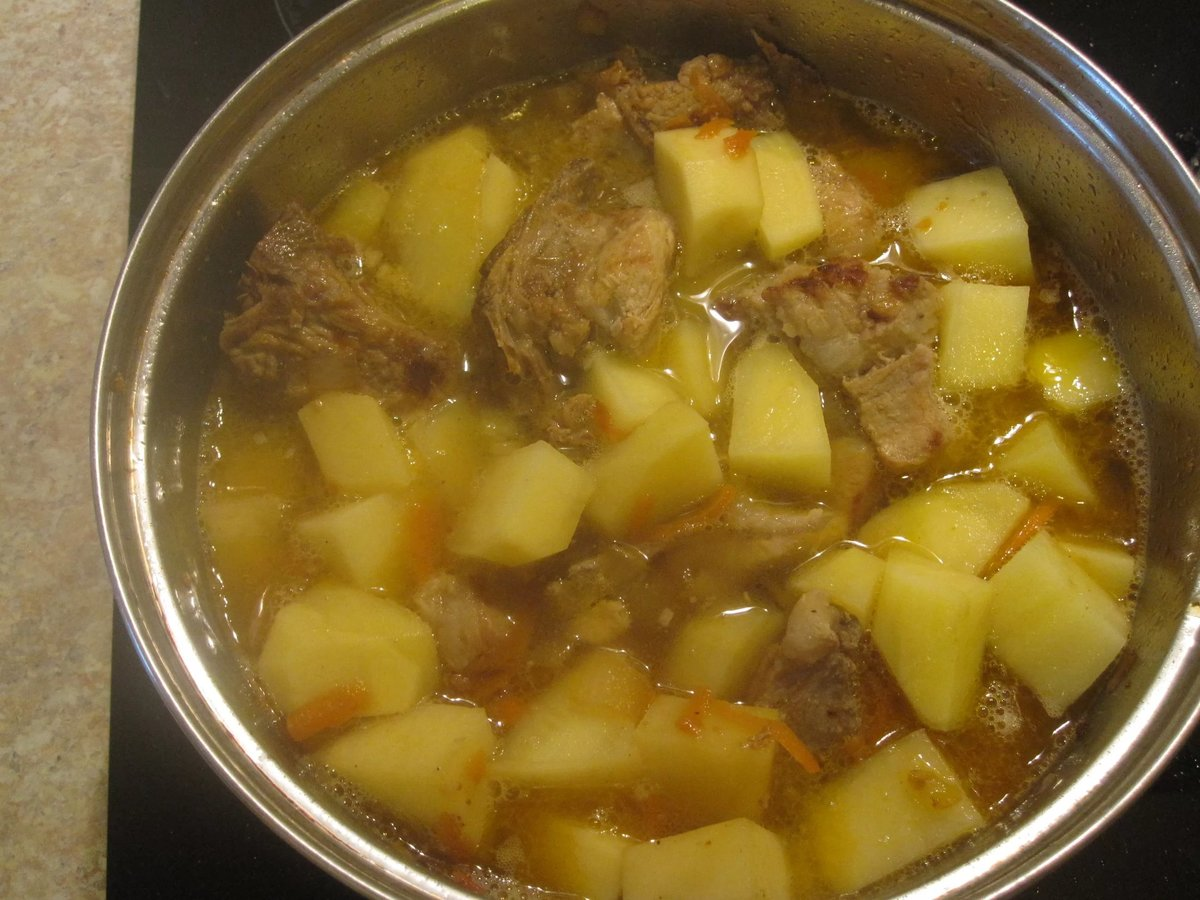 Говядина с картошкой в сковороде рецепт 43