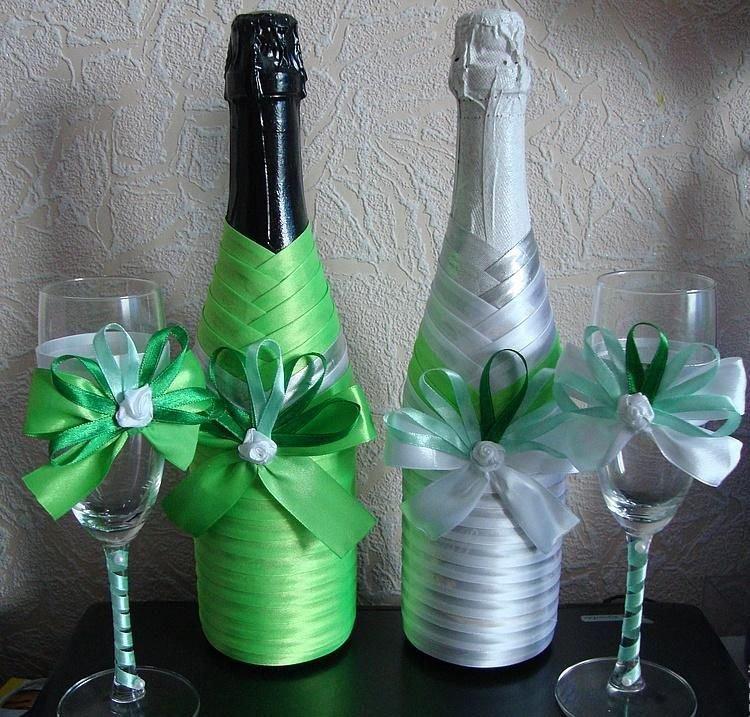Как красиво украсить бутылку на свадьбу своими руками 95