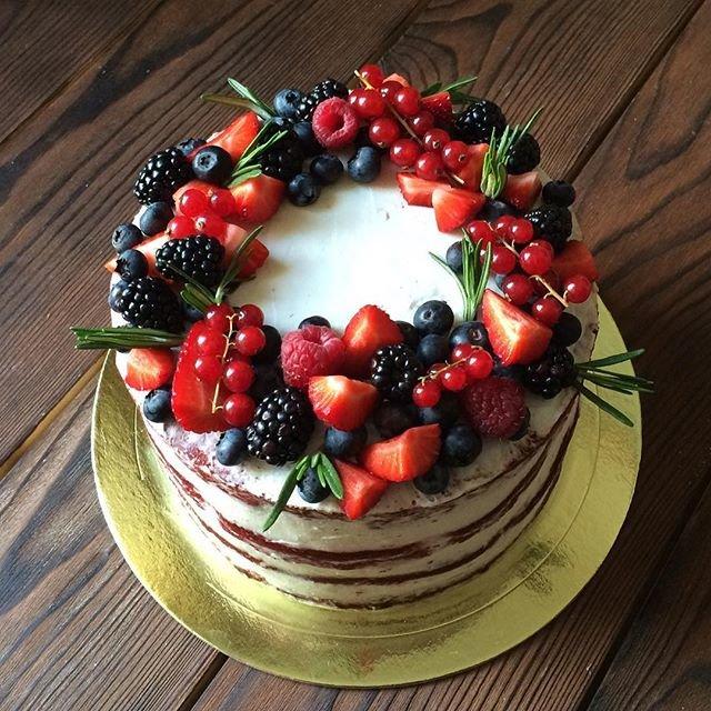 Украшение торта фруктами и ягодами в домашних  644