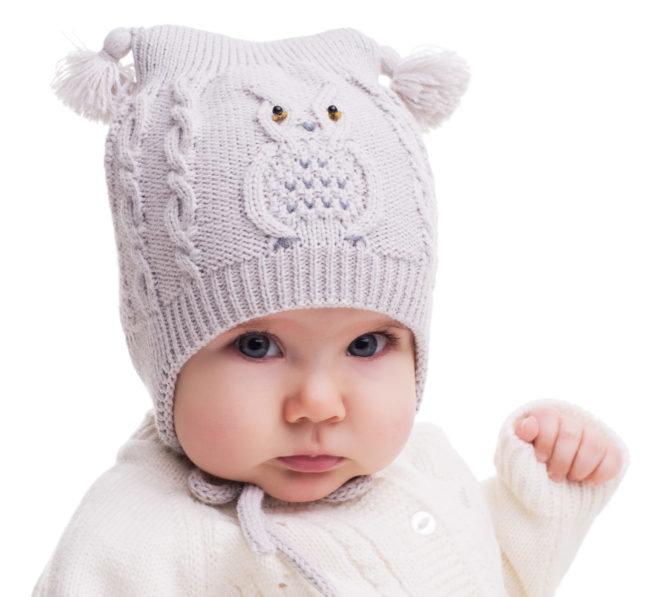 Зимние вязанные шапки для девочек до года